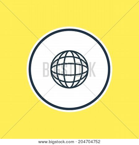 Beautiful Summer Element Also Can Be Used As Earth  Element.  Vector Illustration Of Globe Outline.