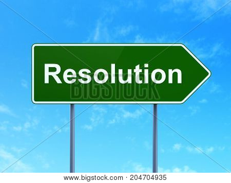 Law concept: Resolution on green road highway sign, clear blue sky background, 3D rendering