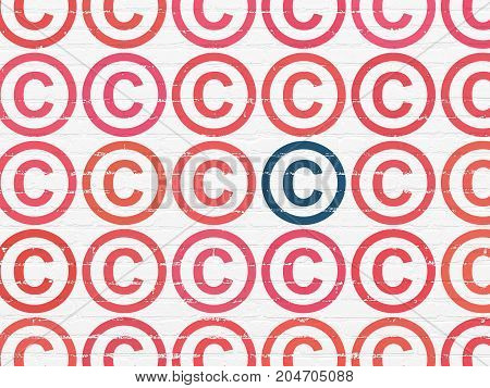 Law concept: rows of Painted red copyright icons around blue copyright icon on White Brick wall background