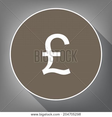 Turkish lira sign. Vector. White icon on brown circle with white contour and long shadow at gray background. Like top view on postament.