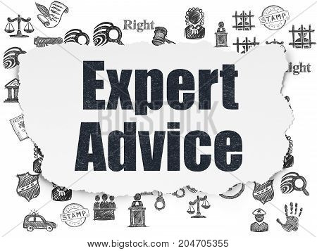 Law concept: Painted black text Expert Advice on Torn Paper background with  Hand Drawn Law Icons