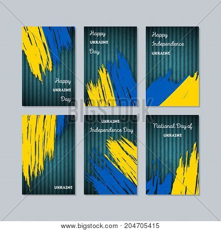 Ukraine Patriotic Cards For National Day. Expressive Brush Stroke In National Flag Colors On Dark St