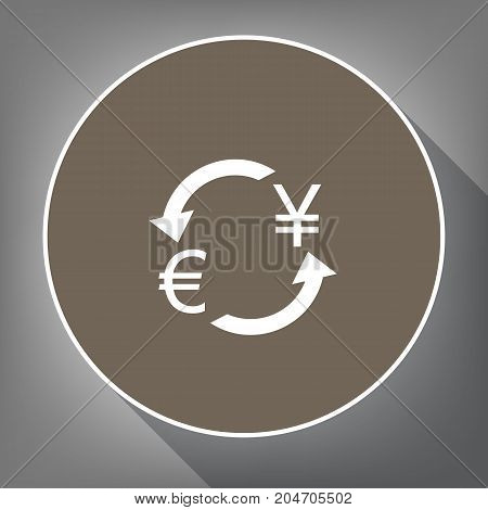Currency exchange sign. Euro and Japan Yen. Vector. White icon on brown circle with white contour and long shadow at gray background. Like top view on postament.