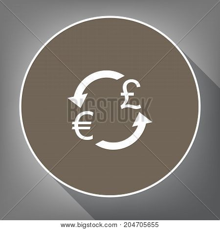 Currency exchange sign. Euro and UK Pound. Vector. White icon on brown circle with white contour and long shadow at gray background. Like top view on postament.