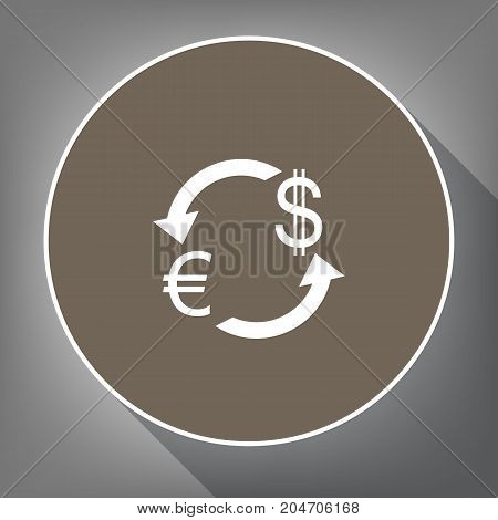 Currency exchange sign. Euro and US Dollar. Vector. White icon on brown circle with white contour and long shadow at gray background. Like top view on postament.