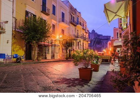 Night or early morning colorful italian street. Ischia, Italy