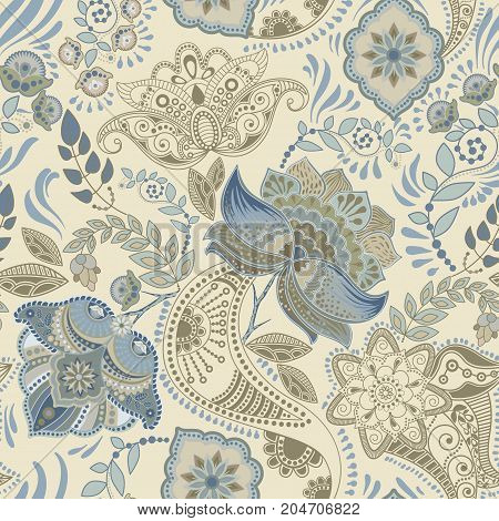 Colorful floral seamless pattern. Paisley ornament. Decorative flowers