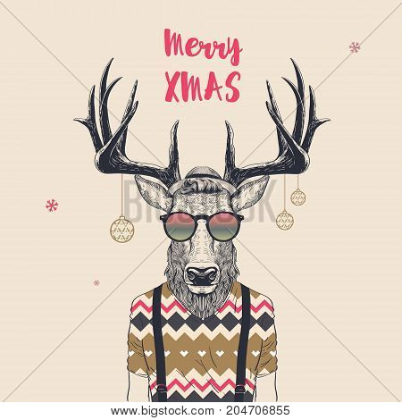 Christmas Card with Cool Hipster Deer Merry Xmas Vector Illustration