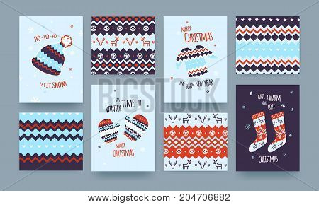 Set of Cute Illustrated Christmas Card with Winter Hat Socks and Sweater Christmas patterns Blue Colors