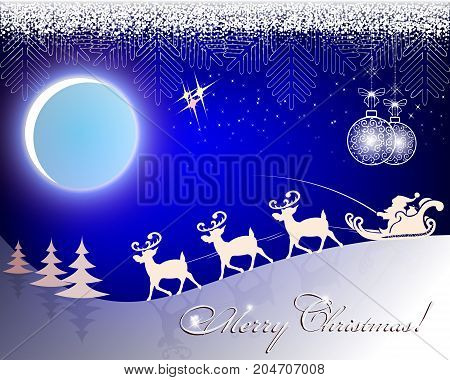 Christmas blue background with Santa Claus on deer, Christmas balls and the moon