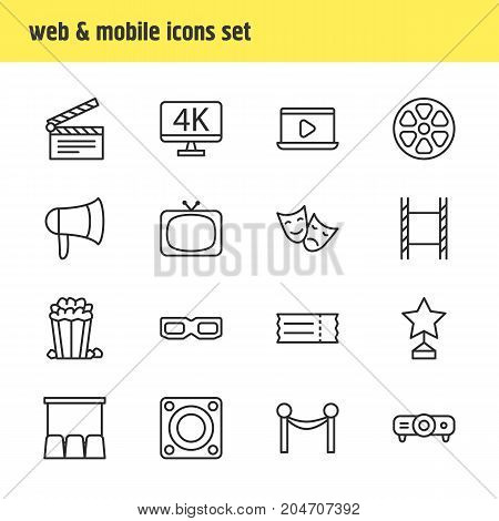 Editable Pack Of Slideshow, Filmstrip, Clapper And Other Elements.  Vector Illustration Of 16 Film Icons.
