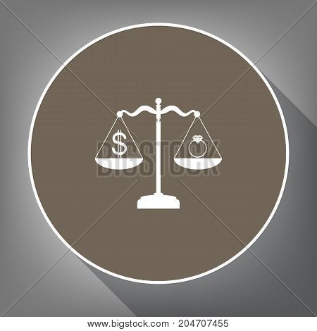 Ring jewelery and dollar symbol on scales. Vector. White icon on brown circle with white contour and long shadow at gray background. Like top view on postament.
