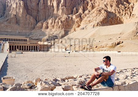 Admiring panorama of famous ancient temple of Hatshepsut in Luxor, Egypt