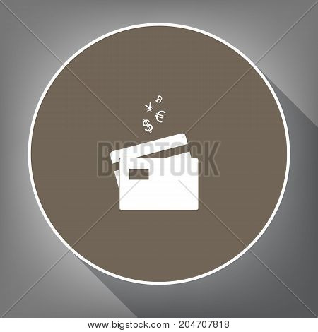 Credit cards sign with currency symbols. Vector. White icon on brown circle with white contour and long shadow at gray background. Like top view on postament.