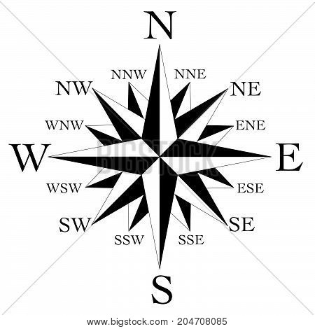 compass face with 16 point wind rose black on white background
