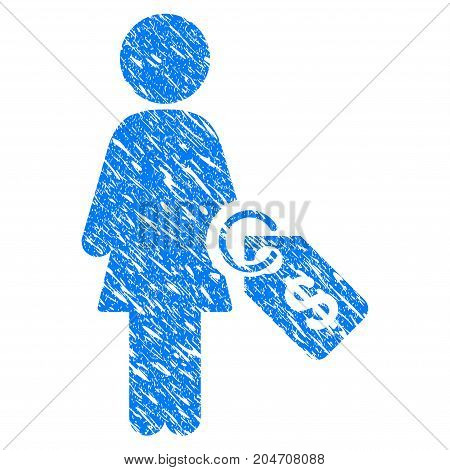 Grunge Woman Price Tag icon with grunge design and scratched texture. Unclean vector blue woman price tag pictogram for rubber seal stamp imitations and watermarks. Draft sticker symbol.