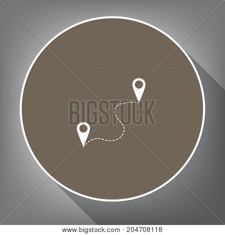 Location pin navigation map, gps sign. Vector. White icon on brown circle with white contour and long shadow at gray background. Like top view on postament.