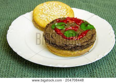 Dessert Imposter Hamburger On White China Plate