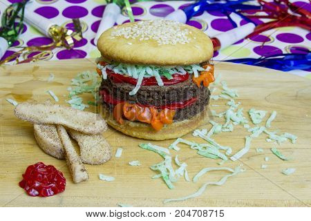 Dessert Imposter  Double Cheeseburger And Apple Fries And Ketchup
