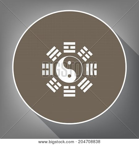 Yin and yang sign with bagua arrangement. Vector. White icon on brown circle with white contour and long shadow at gray background. Like top view on postament.