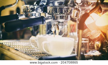 Asian Men Barista Using Coffee Machine In Coffee Shop Counter - Working Woman Small Business Owner F