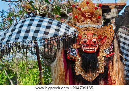 Traditional Barong. Bali island protective hindu spirit at ceremony Melasti and ritual temple dance before Balinese New Year silence day Nyepi. Holidays festivals art culture of Indonesian people.