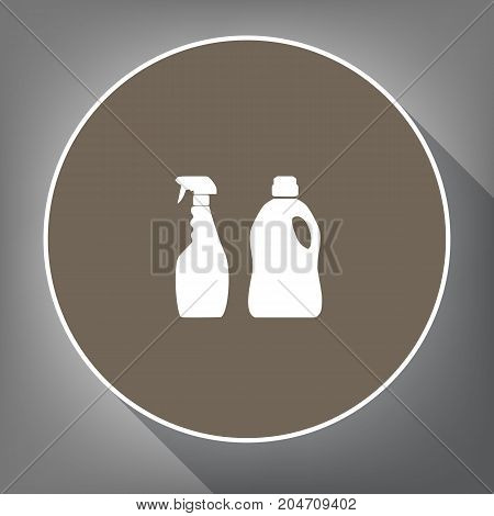 Household chemical bottles sign. Vector. White icon on brown circle with white contour and long shadow at gray background. Like top view on postament.