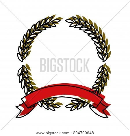 green olive branches forming a circle with thick red ribbon on bottom colorful watercolor silhouette vector illustration