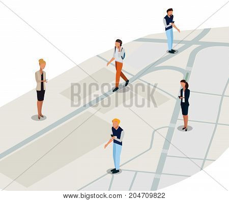 Isometric business people on the isometric map background. -stock vector