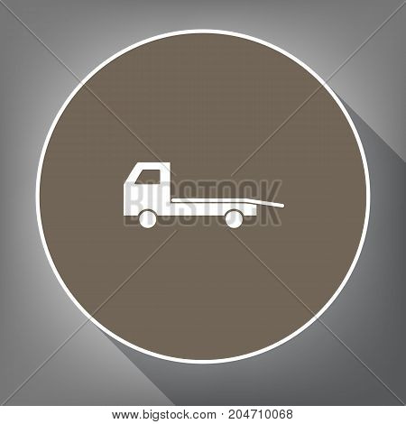 Service of evacuation sign. Wrecking car side. Car evacuator. Vehicle towing. Vector. White icon on brown circle with white contour and long shadow at gray background. Like top view on postament.
