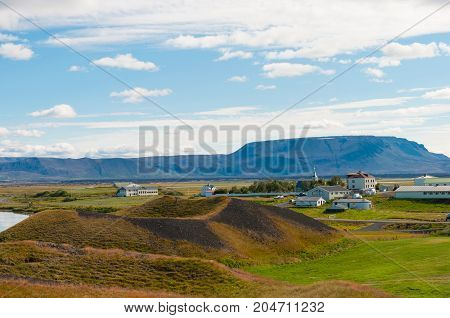 Pseudocraters And Farm Near Lake Myvatn In North Iceland