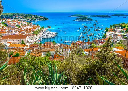 Famous view at marble Adriatic Coast scenery in Croatia during summer, Hvar town seascape.