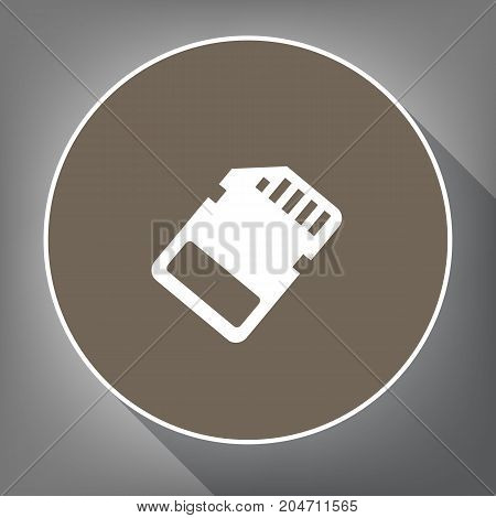 Memory card sign. Vector. White icon on brown circle with white contour and long shadow at gray background. Like top view on postament.