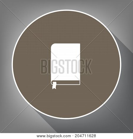 Book sign. Vector. White icon on brown circle with white contour and long shadow at gray background. Like top view on postament.
