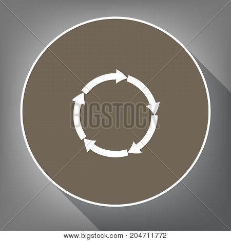 Circular arrows sign. Vector. White icon on brown circle with white contour and long shadow at gray background. Like top view on postament.