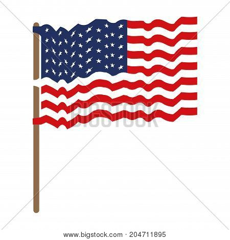 flag united states of america waving in flagpole and colorful silhouette without contour vector illustration