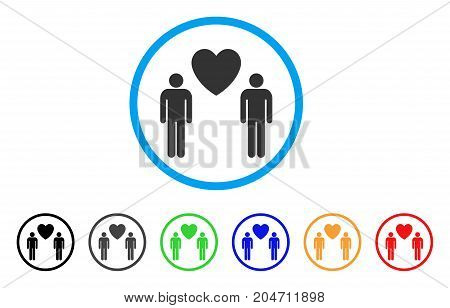 Gay Lovers rounded icon. Style is a flat gay lovers gray symbol inside light blue circle with black, gray, green, blue, red, orange versions. Vector designed for web and software interfaces.