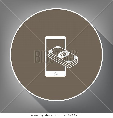 Payment, refill your mobile smart phone, . Vector. White icon on brown circle with white contour and long shadow at gray background. Like top view on postament.