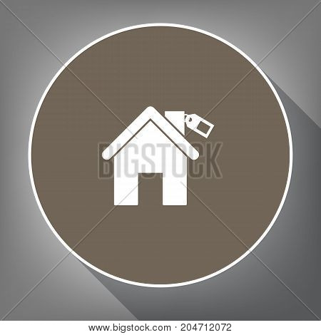 Home silhouette with tag. Vector. White icon on brown circle with white contour and long shadow at gray background. Like top view on postament.