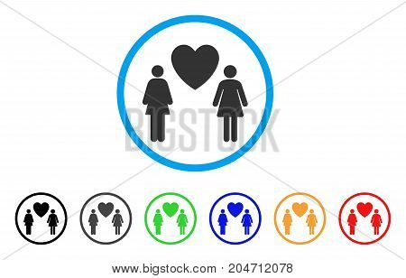 Lesbi Love Pair rounded icon. Style is a flat lesbi love pair gray symbol inside light blue circle with black, gray, green, blue, red, orange color versions.
