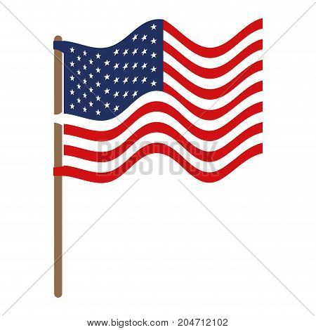 flag united states of america in flagpole waving and colorful silhouette without contour vector illustration