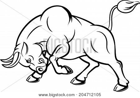 Illustration of angry bull with attacking pose
