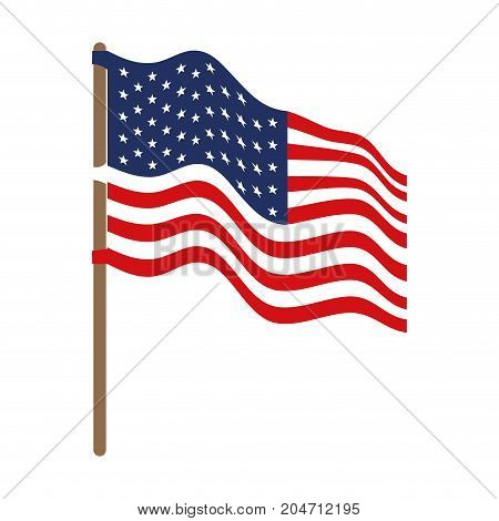 flag united states of america in flagpole waving side and colorful silhouette without contour vector illustration
