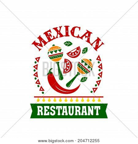 Mexican cuisine restaurant emblem of ethnic food. Red chili pepper, tomato, hot spice and herbs with maracas vector icon framed with mexican or aztec ornament and ribbon banner