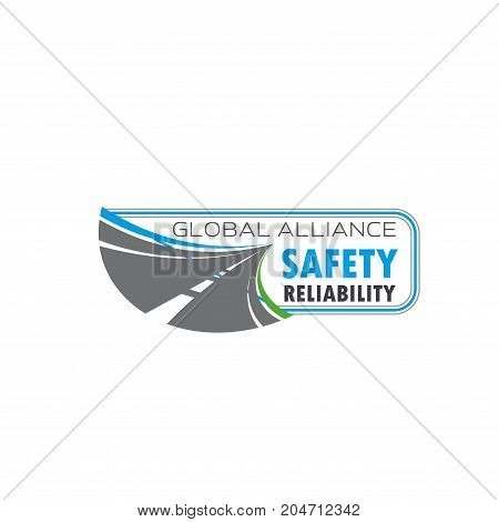 Road traffic safety isolated symbol. Asphalt highway or speed freeway vector emblem for road building company, transportation service and traffic safety themes design