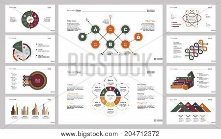 Infographic design set can be used for workflow layout, diagram, annual report, presentation, web design. Business and consulting concept with process, bar, pie and percentage charts.