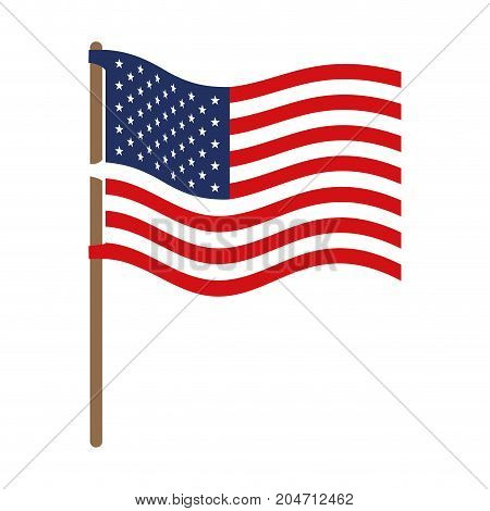 flag united states of america wave in flagpole and colorful silhouette without contour vector illustration