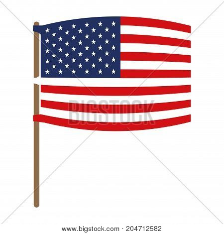 flag united states of america wave out design in flagpole and colorful silhouette without contour vector illustration