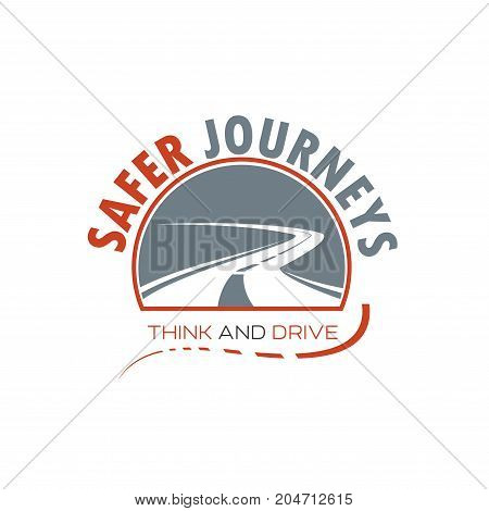 Winding road isolated icon of speed highway with steep turn. Safe journey emblem for road trip, car travel and transportation service themes design