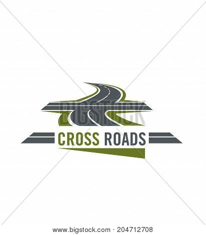 Cross road symbol with winding highway and cross ways. Speed freeway with asphalt road intersection isolated icon for transportation service emblem or car travel design